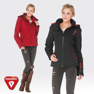 【SAMLIX山力士】PRIMALOFT女輕量化防潑水保暖外套#32814(紅色.黑色)