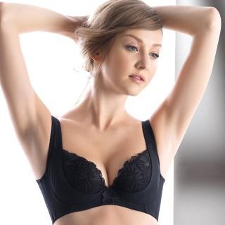 【LADY】安布羅莎系列 刺繡機能調整型內衣 B-D罩(魅惑黑)