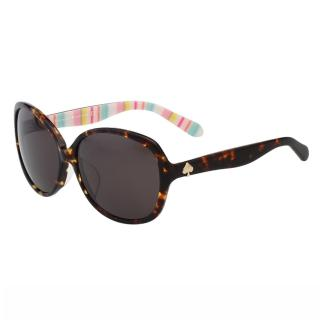 【Kate Spade】-圓面 黑白條紋 太陽眼鏡(琥珀色)
