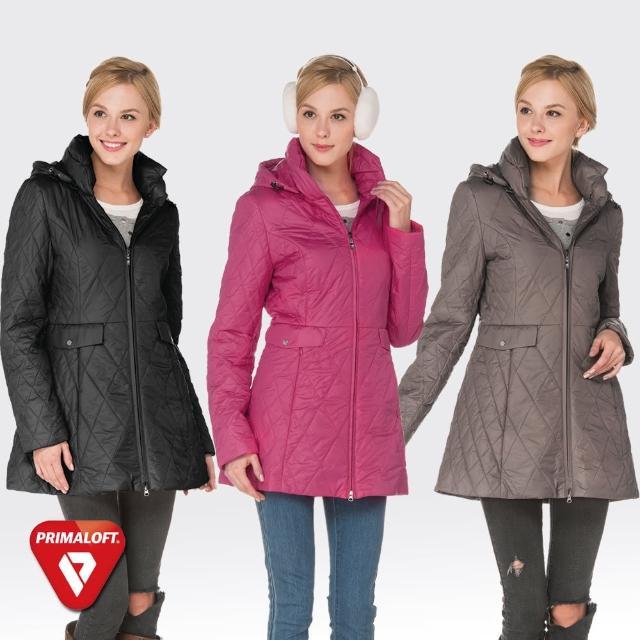 【SAMLIX山力士】PRIMALOFT女輕量化防潑水保暖外套#36614(黑色.桃紅)