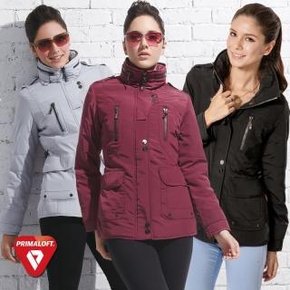 【SAMLIX山力士】PRIMALOFT女輕量化防潑水保暖外套#336(黑色.紫色.灰色)