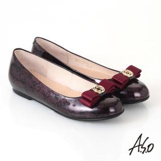 【A.S.O】優雅時尚 真皮美型圖騰蝴蝶結飾平底鞋(酒紅)