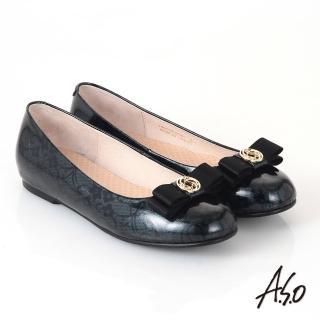 【A.S.O】優雅時尚 真皮美型圖騰蝴蝶結飾平底鞋(墨綠)