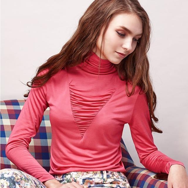 【矜蘭妃】100%蠶絲時裝高領衫-保暖加厚款(藍/桃紅/黑 3件組)