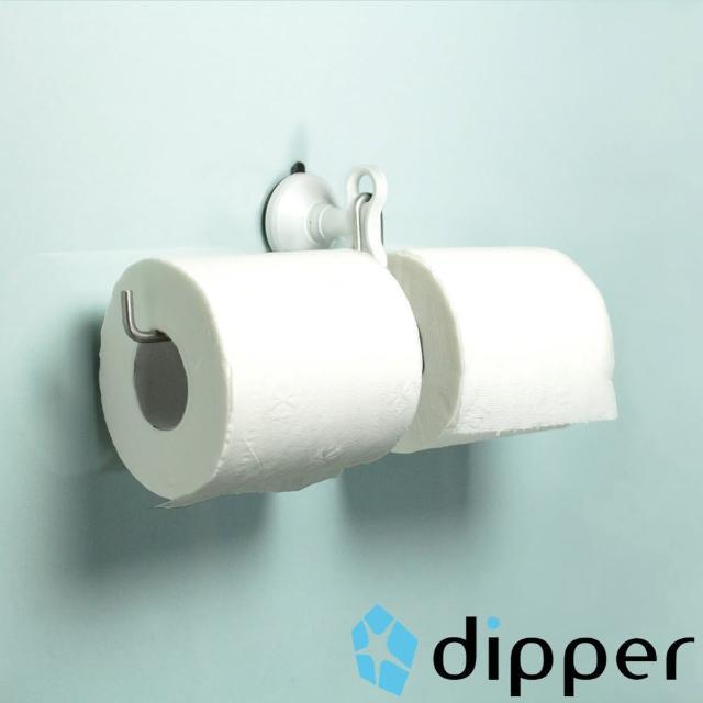 【dipper】強力吸盤壁掛-中(雙筒衛生紙架套組)