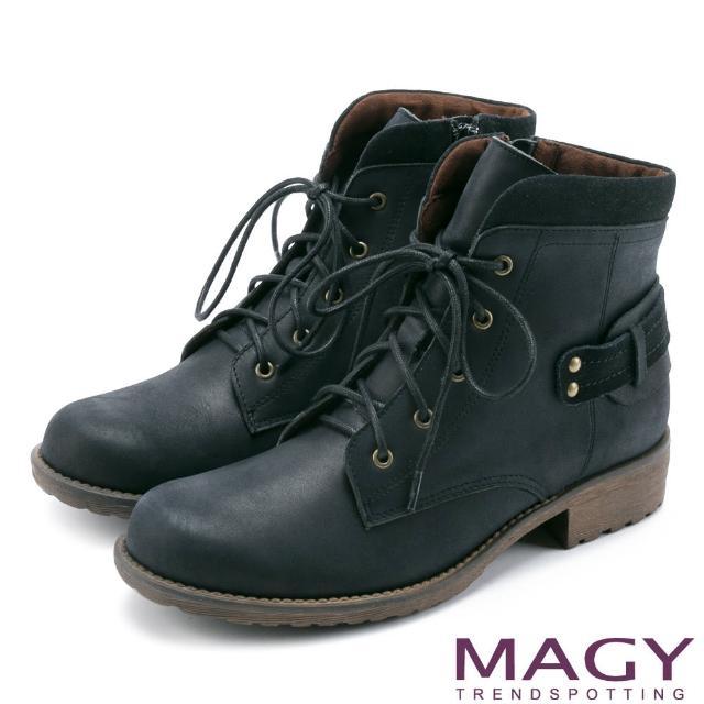 【MAGY瑪格麗特】街頭率性簡約 嚴選牛皮帥氣綁帶短靴(黑色)