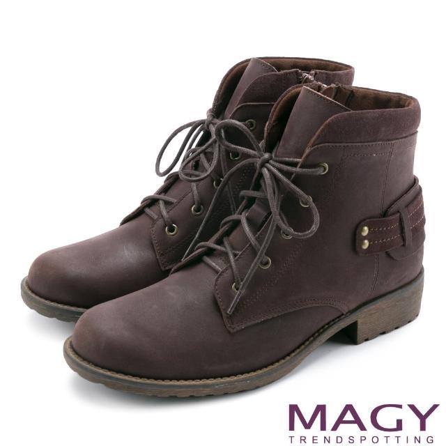 【MAGY瑪格麗特】街頭率性簡約 嚴選牛皮帥氣綁帶短靴(咖啡)