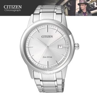 【CITIZEN 日系星辰】時尚精選 不鏽鋼錶帶 光動能 日期顯示 指針男錶(AW1231-58A)
