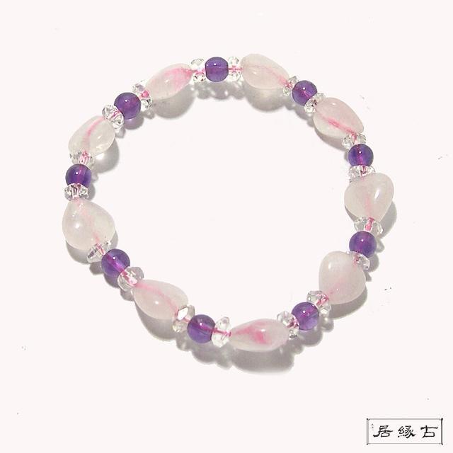 【古緣居 12H】天然紫水晶+粉晶愛心手鍊