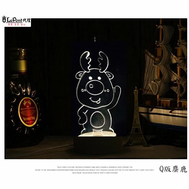 【LEPONT】北歐3D立體 USB LED創意小夜燈-Q版麋鹿