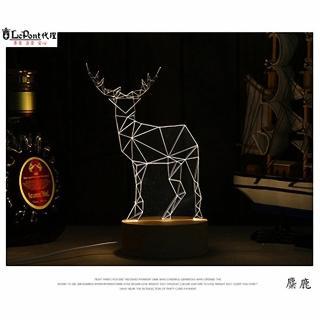 【LEPONT】北歐3D立體 USB LED創意小夜燈-麋鹿