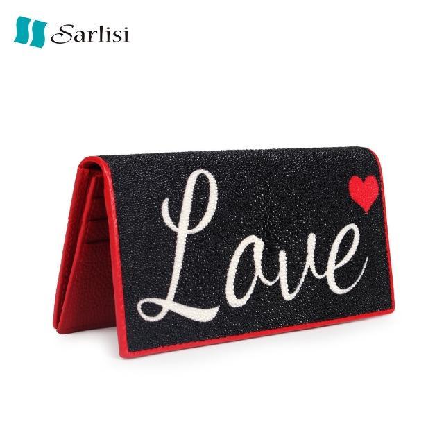 【Sarlisi】簡約愛心珍珠魚皮對折長夾(經典黑)