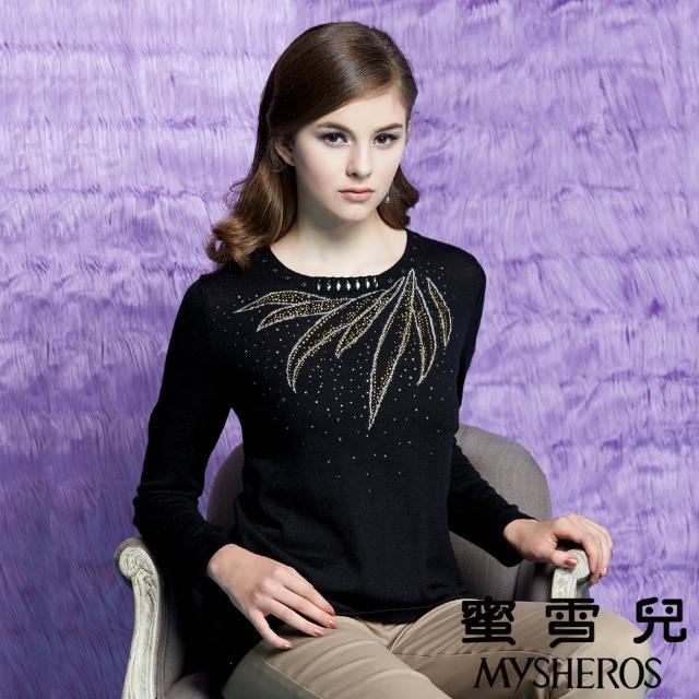 【蜜雪兒mysheros】華麗串珠圓領羊毛針織上衣(黑)