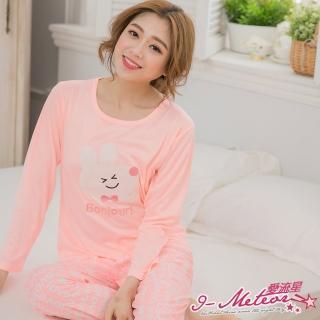 【I-meteor日系】PA3055全尺碼-貼布小兔牛奶絲長袖二件式睡衣組(浪漫淺桔)