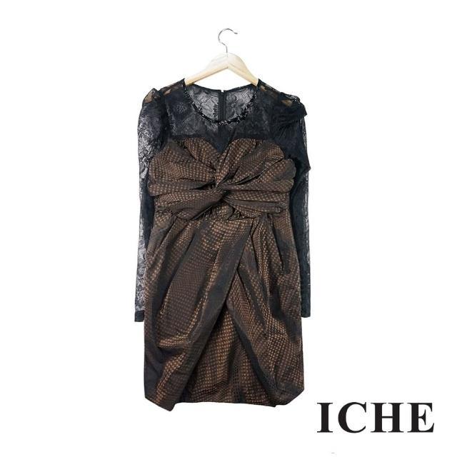 【ICHE 衣哲】蕾絲拼接波點印花咖啡長袖禮服洋裝