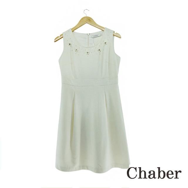 【ICHE 衣哲】立體釘珠羊毛白洋裝
