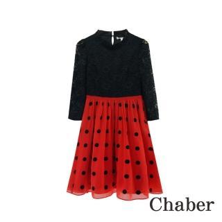 【ICHE 衣哲】立領蕾絲拼接點點七分袖洋裝