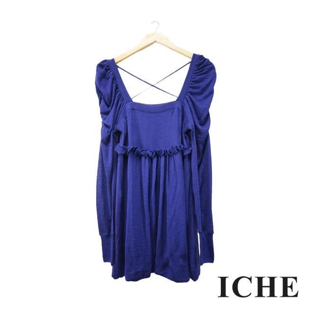 【ICHE 衣哲】方領荷葉針織藍紫長版上衣