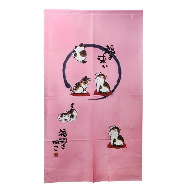 日式針織五福貓長門簾YSJ872(紅88x150cm)