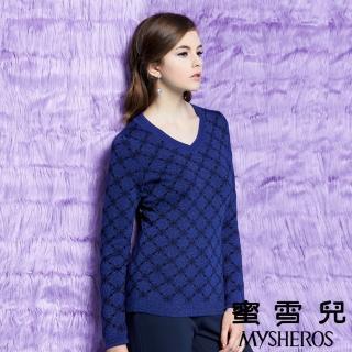 【蜜雪兒mysheros】V領羊毛菱格金蔥針織上衣(藍)
