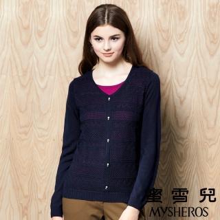【蜜雪兒mysheros】假兩件羊毛蕾絲紋針織上衣(藍)