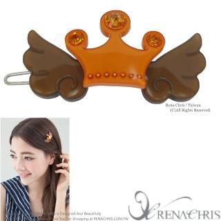 【Rena Chris】天使羽翼皇冠晶鑽髮夾(Brown)
