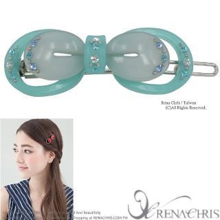【Rena Chris】蝴蝶結雙色橢圓扣夾(Blue)