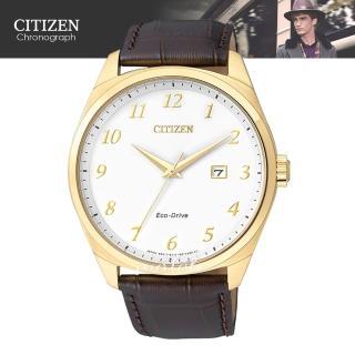【CITIZEN 日系星辰】紳士必備_皮革錶帶_光動能_日期顯示_指針男錶(BM7322-06A)
