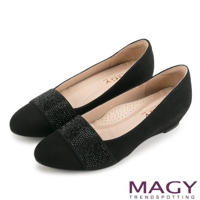 【MAGY瑪格麗特】復古上城女孩 質感布料鬆緊帶楔型低跟鞋(黑色)
