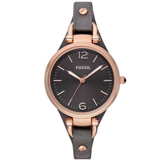 【FOSSIL】簡約時尚 皮革錶帶 指針女錶(ES3077)
