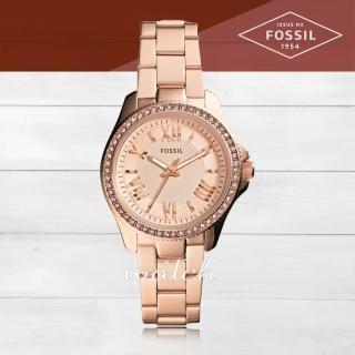 【FOSSIL】氣質首選_玫瑰金_不鏽鋼錶帶_羅馬數字_氣質女錶(AM4578)