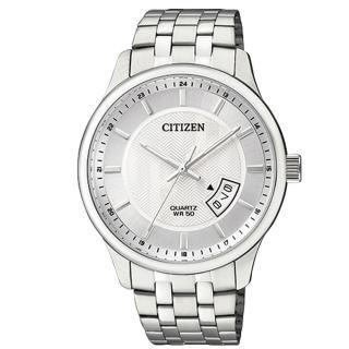 【CITIZEN 日系星辰】簡約時尚_日期顯示_不鏽鋼錶帶_礦物玻璃_指針男錶(BI1050-81A)