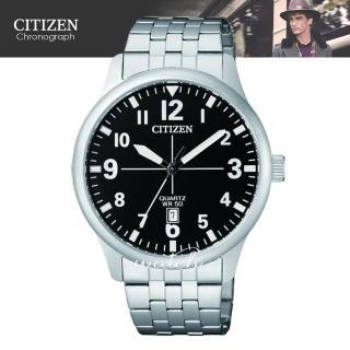 【CITIZEN 日系星辰】簡約時尚_日期顯示_不鏽鋼錶帶_礦物玻璃_指針男錶(BI1050-81F)