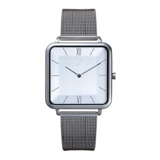 【ZOOM】THIN 時尚極簡晶礦方錶(銀 /35.5*35.5mm)