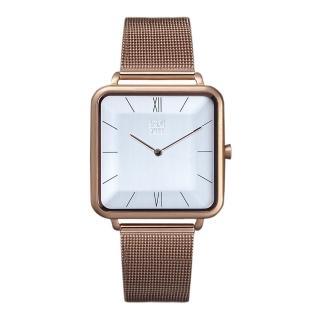 【ZOOM】THIN 時尚極簡晶礦方錶(玫瑰金 /35.5*35.5mm)