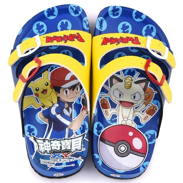 【童鞋城堡】神奇寶貝 寶可夢  中童 不對稱軟木風格拖鞋(PA1712-藍)