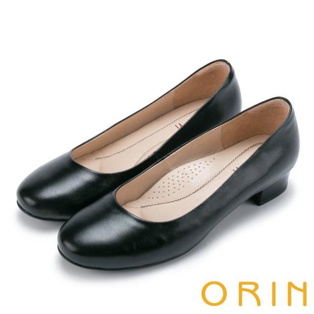 【ORIN】釋放久站上班族的壓迫感 柔軟羊皮粗低跟鞋(黑色)