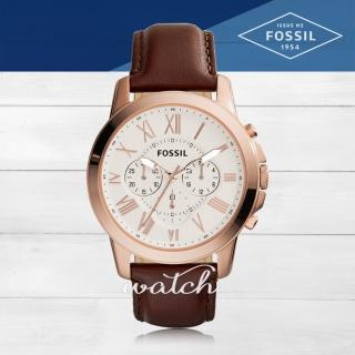 【FOSSIL】簡約時尚_皮革錶帶_三眼顯示_羅馬數字_強化玻璃_指針男錶(FS4991)