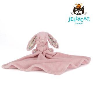 【英國 JELLYCAT】經典碎花粉色兔子安撫巾(約34*34公分)