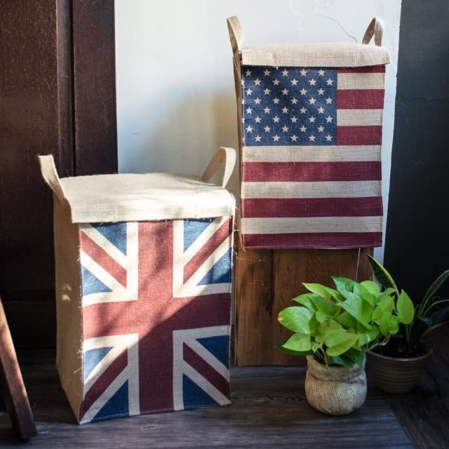 【收納職人】美式復古LOFT工業風國旗附蓋黃麻收納整理籃/儲物盒(美國風/英國風-兩款可選)