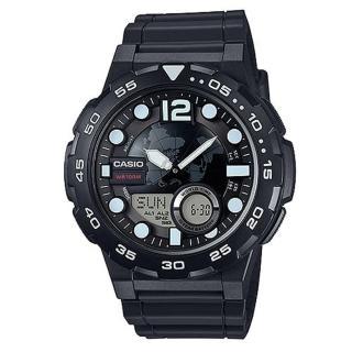 【CASIO】世界地圖設計概念造型雙顯錶(AEQ-100W-1A)