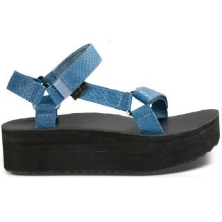 【TEVA】W FLATFORM UNIVERSAL EVERGLADE 女織帶厚底涼鞋 藍色蛇紋皮革(1012471-BLU)