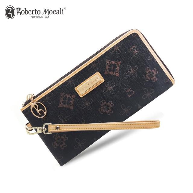 【Roberto Mocali 諾貝兔】時尚優雅黑金皮夾系列 幸運草壓紋L型拉鍊手拿包長夾