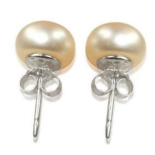 【小樂珠寶】頂然天然淡水珍珠耳環-耳貼式(甜美復古感俏麗100%)