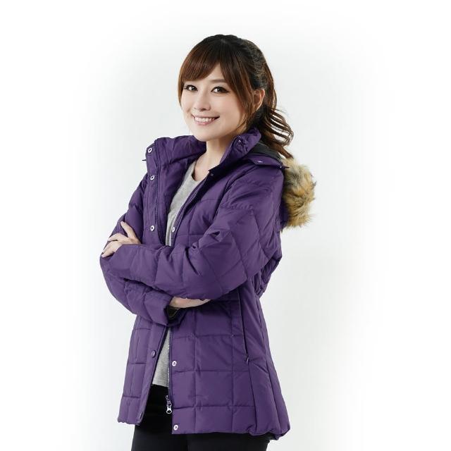 【遊遍天下】極暖女款JIS90%羽絨防風防潑水橫格保暖羽絨外套A062紫色(M-2L)