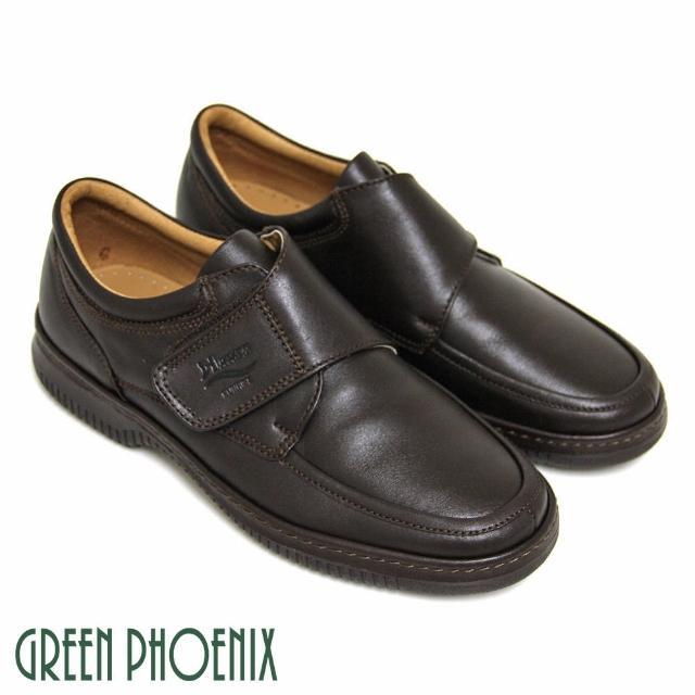 【GREEN PHOENIX 男鞋】沉穩熟男沾黏式全真皮休閒皮鞋(深咖啡)