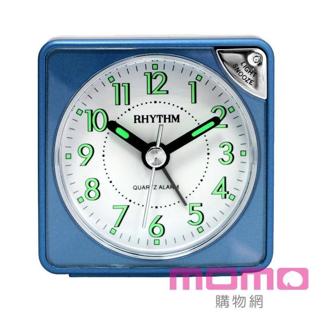 【RHYTHM日本麗聲】輕巧時尚LED夜光貪睡便攜小鬧鐘(爵士藍)