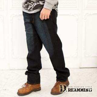 【Dreamming】美式車線刷色伸縮中直筒牛仔褲