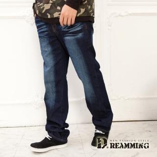 【Dreamming】皮標釦飾刷白伸縮中直筒牛仔褲