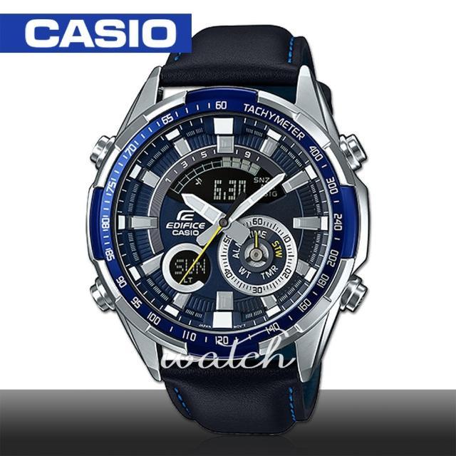 【CASIO 卡西歐 EDIFICE 系列】時尚精選 雙顯設計 超亮LED照明 溫度測量 世界時間 男錶(ERA-600L)
